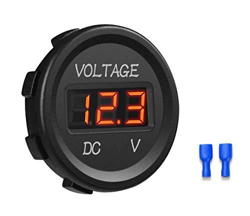 12V/24V Voltmeter LED Digitalanzeige DC Voltmeter Spannungsmesser mit Terminals für Auto Motorrad LKW Boot Marine(Rot)