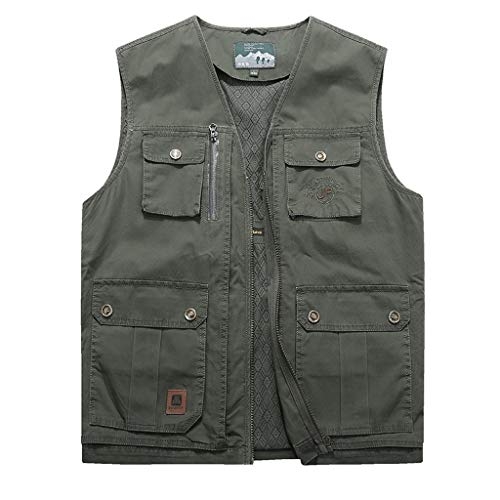 Hcxbb-7 Vliegen Vissersvest, Pocket Vest mannen Casual Vest Vest Multi-pocket middelbare leeftijd Rits Katoen Outdoor Vest