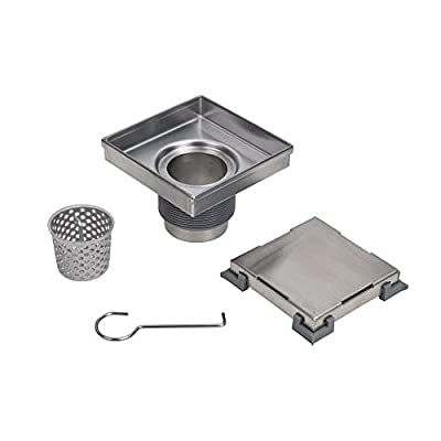 """Oatey DSS1060R2 Designline 6"""" x 6"""" Square, DIY Stainless Steel Tile-In Shower Floor Drain with Adjustable Leveling Feet and Hair Catcher-304 Grade, 6"""""""