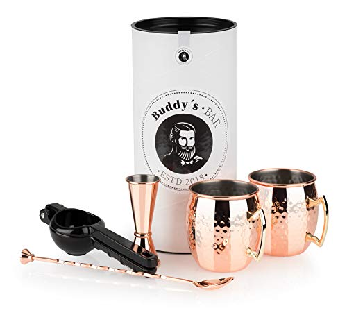 Buddy´s Bar - Moscow Mule Komplett Set, 2 x 500 ml Cocktail-Becher, 27 cm Barlöffel, 5 cl Barmaß & Schwarze Limettenpresse, lebensmittelecht, Cocktail-Tassen-Set inkl. Geschenkbox, Kupfer gehämmert