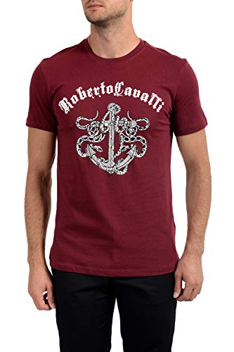 Roberto Cavalli FST964 T-Shirt Maniche Corte Uomo Rosso Bordeaux XL