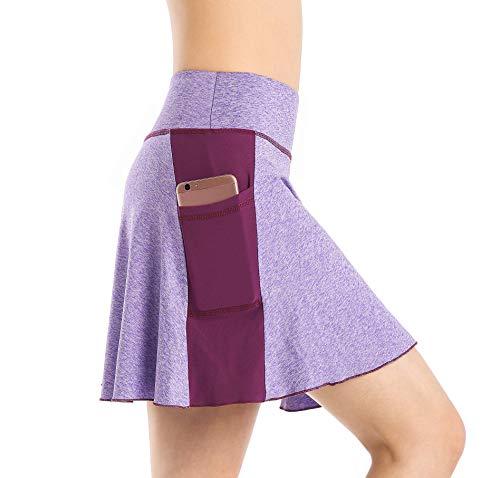 EAST HONG Women's Active Athletic Skort Lightweight Skirt with Pockets (M, Lavender - Purple)