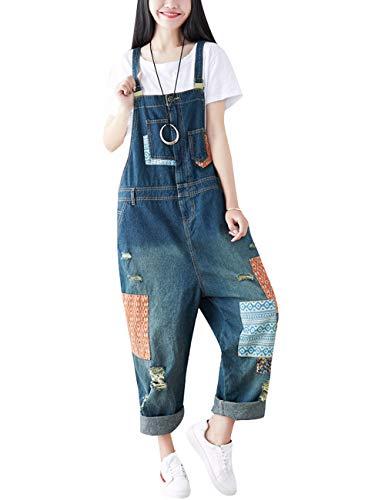 Youlee Damen Sommer Breites Bein Hose Denim Latzhose Overall Hosen Style 15