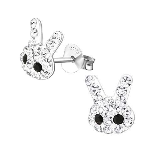Laimons Orecchini da bambina a forma di coniglio, orecchini da bambina, in argento sterling 925, con brillantini, 9 mm, colore: bianco e nero