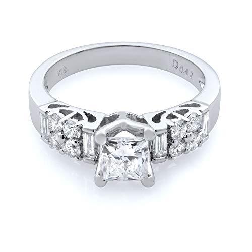 Rachel Koen Anillo de compromiso de diamantes de corte princesa de oro blanco de 18 quilates 1.00 cttw