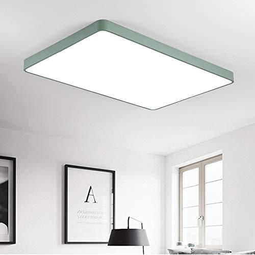 BFMBCHDJ Lámpara de techo LED ultradelgada Sala de estar Lámpara de dormitorio Lámpara de techo Alta decoración 80W 88X63CM verde Individual blanco cálido