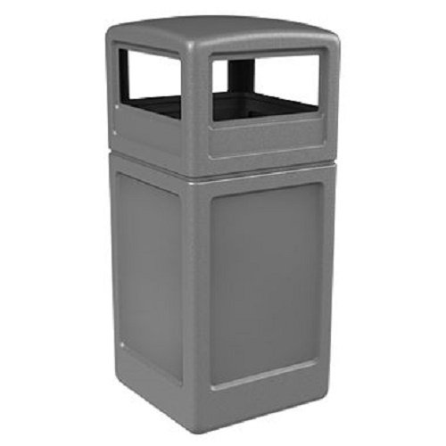 Commercial Zone Square Waste Container with Dome Lid, Polyethylene, 42-gal, Gray