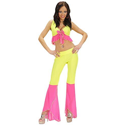 Samba Top & Broek Neon Geel & Roze Kostuum Medium voor 70s Abba Thema Fancy Jurk