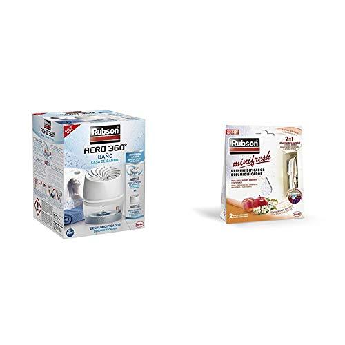 Rubson AERO 360º Baño, deshumidificador portátil sin cable para baño, absorbe humedad para la circulación del aire + Minifresh Deshumificador para Armarios Fragancia A Fruta