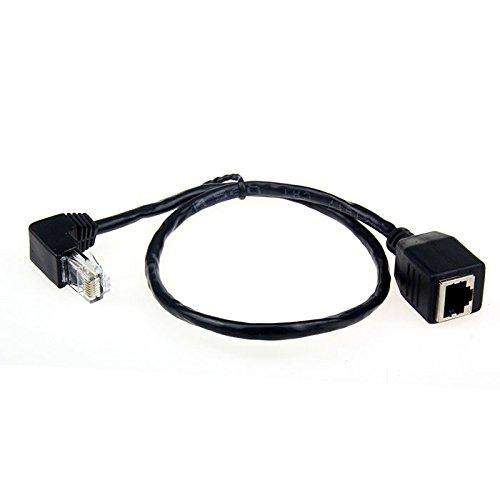Cablecc um 90 Grad nach unten abgewinkelter Adapter für Netzwerk-Verlängerungskabel, 8P8C, FTP, STP, UTP, Kategorie-5e-Stecker auf Buchse, für LAN, Ethernet, Netzwerk, 50 cm