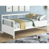 Giantex Wooden Daybed Frame Twin Size, Full Wooden Slats Support, Dual-use Sturdy Sofa Bed for Bedroom Living Room (White)