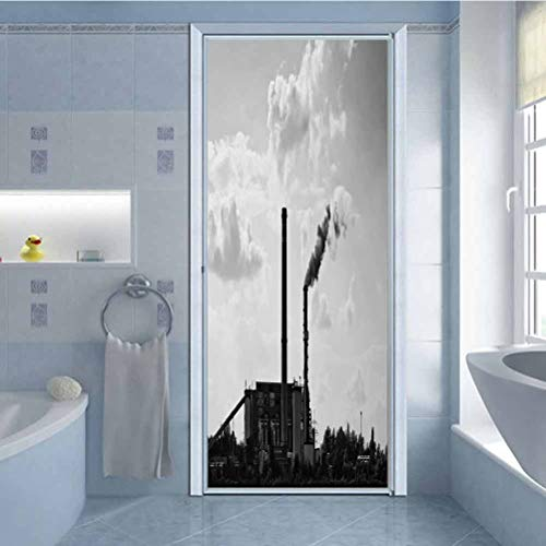 3D Door Stickers Decal Vinyl Mural Sticker, Smoking Power Plant Black Silhouette with Cloudy s, for Home Office Decoration Door Pattern W23.6 x L78.7 Inch