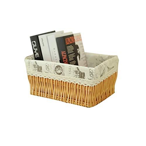 Shengluu Cesta de almacenamiento de mimbre con cesta de almacenamiento de escritorio y aperitivos, caja de almacenamiento de desechos (color: B, tamaño: 39 x 29 x 19 cm)