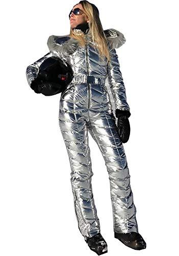 Women Winter Onesies Ski Jumpsuit Outdoor Sports Snowsuit Fur Collar Coat Jumpsuit with Hoodies Removable (Silver,Medium)
