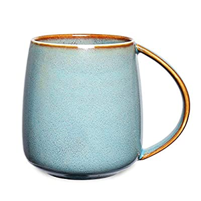 Bosmarlin Matte Ceramic Coffee Mug, Tea Cup for Office and Home, 13 oz, Dishwasher and Microwave Safe, 1 Pack (Lake Blue(Glossy))