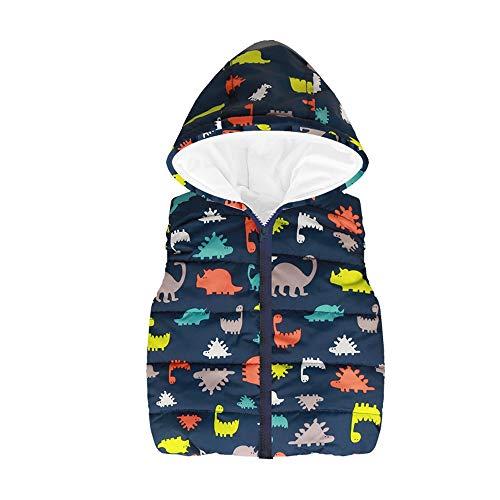 Zarupeng Zarupeng Kleinkind Baby Mädchen Jungen Cartoon Dinosaurier Kapuzen Weste Ärmellos Slim Jacke Warme Mantel Kinder Kleidung Oberteile