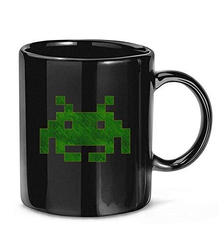 N\A Taza de café de Mezclilla Verde Geek Space Invaders para Mujeres y Hombres, Tazas de té GP4YCT
