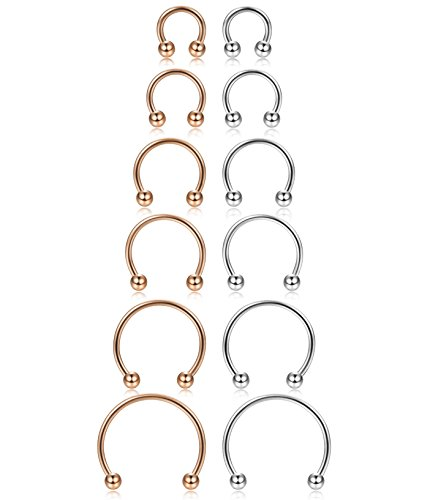 ORAZIO 12Pcs 14-16G Stainless Steel Nose Rings Septum Piercing Cartilage Horseshoe Earring Body Piercing 6MM-16MM Silver Tone and Rose Gold