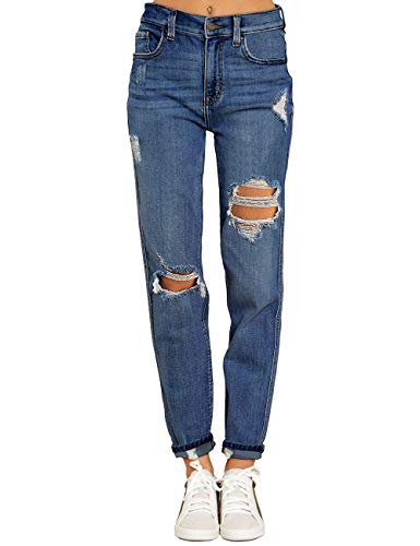 Vetinee Women's Dark Blue High Rise Destroyed Boyfriend Tapered Jeans Washed Distressed Ripped Broken Holes Casual Denim Pants Size Large