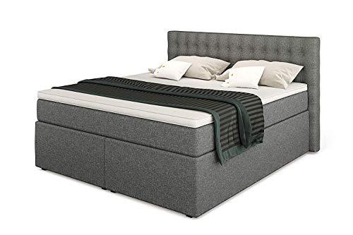 King Boxspringbett 180x200 mit Bettkasten 7-Zonen TFK Härtegrad H3 und Visco-Topper | Farbe Hellgrau | 140-200 x 200 cm verfügbar