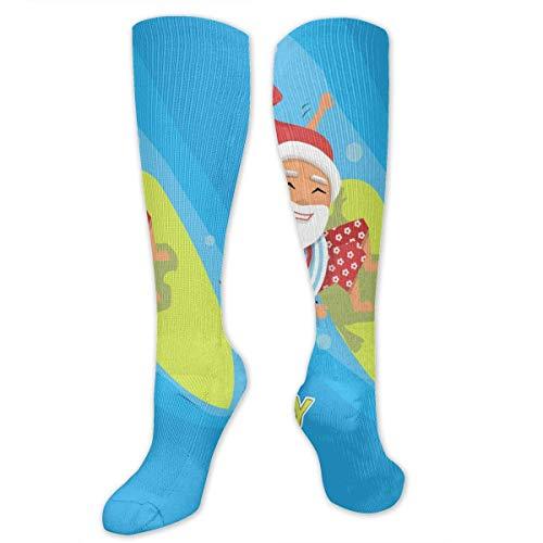 ouyjian Calcetines hasta la rodilla Navidad Santa Claus Surfer Regalos en una ola Mar azul Rodilla Medias de alta compresión Calcetines deportivos Regalo personalizado
