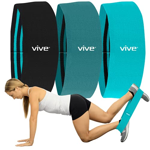Vive Fabric Resistance Bands (Set of 3) - Exercise Loop for Women, Men - Non Slip Body Fitness for Glutes, Legs, Butt, Booty, Hips - Home Gym, Training, Physical Therapy - Workout Guide Book Included