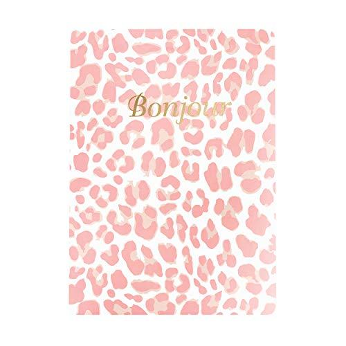 """Graphique Diário grande de couro vegano, Bonjour– 18 x 24 cm, 192 páginas pautadas, a citação""""Bonjour"""" enfeitada em folha dourada na capa – perfeita para tomar notas, listas e mais"""