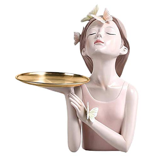 Generic Estatuilla de Resina de Estilo nórdico estatuas de niñas artesanías de Mesa Modernas Adornos Decorativos para Sala de Estar, hogar, Oficina, Centro de - Bandeja de 18.2x15.5x27cm