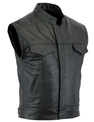 Chaqueta Cruiser para hombre con chaleco de cuero real de Motorbike (X-Large)