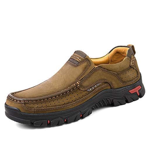 Mens Slip On Walking Shoes Breathable Leather Casual Outdoor Hiking Shoes Khaki 8.5 D M US men 42EU FR