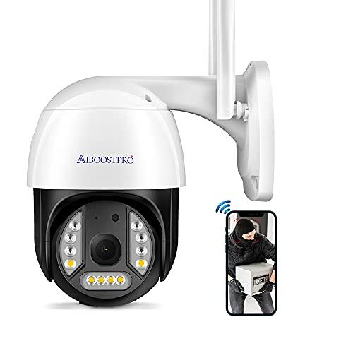 AIBOOSTPRO Camera Surveillance WiFi Exterieure sans Fil, 3MP Caméras de Surveillance PTZ 1536P Audio Bidirectionnel PIR Détection de Mouvement IR Vision Nocturne Suivi Automatique
