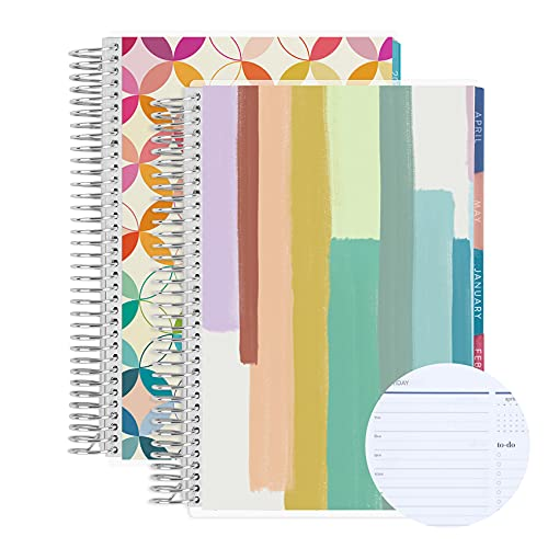 Set of Two - A5 Spiral Bound 6 Month Daily Life Planner ( Jan 2022 - Dec 2022 ) Daily Duo - Painted Stripes + Mid Century Circles. 12 Months Total. Mid Century Circles Interior by Erin Condren.
