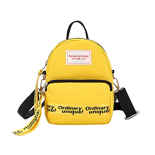Dasongff Mini-rugzak, dames, elegante schoudertas, mini-schooltas, boodschappentas, schoudertas, kleine schoudertas, dames, vrouwen, schoudertas, crossbody tas F geel