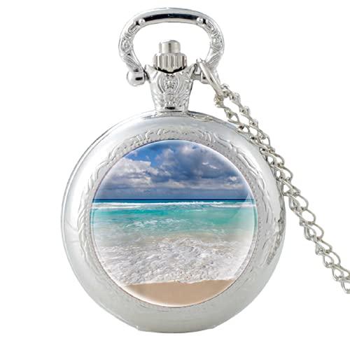 Nuevo diseño de playa negro FOB reloj de bolsillo reloj colgante reloj hombres mujeres encanto cristal cúpula collar mejores regalos