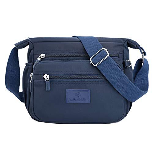 Nylon Casual Shoulder Bag Multi-pocket Crossbody Bag Lightweight Wallet Mommy Bag(Color:Blue,Size:24 * 12 * 20cm)