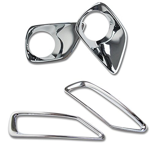 Astra Depot Chrome Front + Rear Fog light lamp Cover Trim For Toyota RAV4 2013 2014 2015
