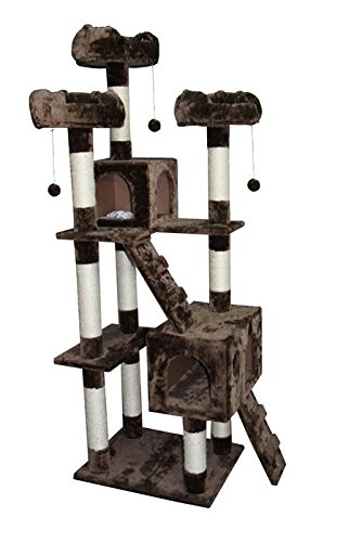 CozyCatFurniture Large Cat Tower Cat Tree Furniture with Two Condos, Mocha