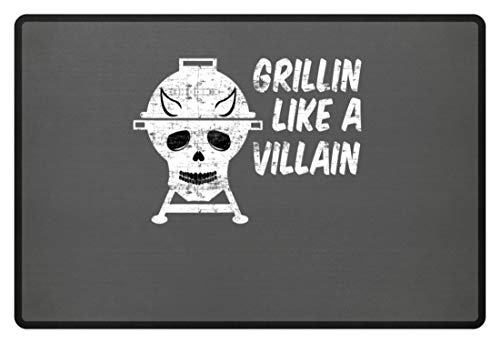 Grillin Like A Villain - doodskop met hoorns - barbecue grill - voetmat