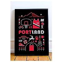 ポートランドトレイルブレイザーズ珍しいポスターとプリント壁アートキャンバス絵画リビングルームの家の装飾ギフト-50x70cmフレームなし