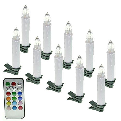 SAILUN 10 Stück RGB Bunt Weinachten LED Weihnachtskerzen mit Fernbedienung Kabellos Dimmbare LED Kerzen Mini Christbaumkerzen Lichterkette für Weihnachtsbaum, Weihnachtsdeko Geburtstags
