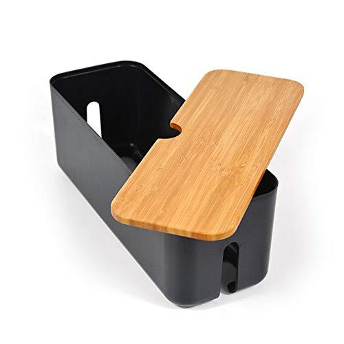 LouisaYork Kabel-Management-Box, Kabel-Organizer mit Holzdeckel zum Verstecken von Steckdosenleiste, TV, Computer und Steckdosenstecker.