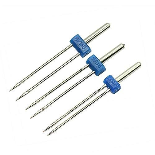 3 unids/set agujas gemelas para máquina de coser doméstica, agujas dobles 2.0/90, 3.0/90, 4.0/90 para cantante hermano, etc.