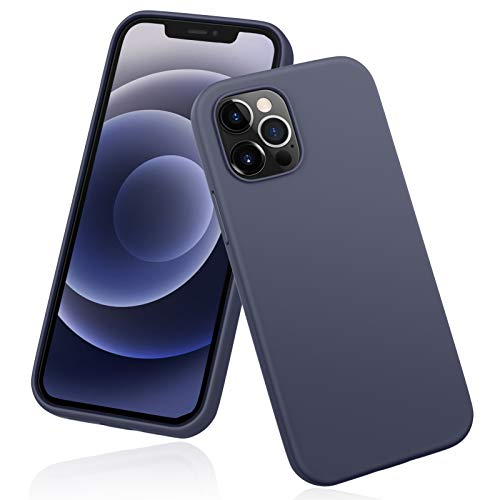 "DTTO Compatible with iPhone 12/12 Pro Case,Shockproof Silicone [Romance Series] Cover [Enhanced Camera and Screen Protection] with Honeycomb Grid Cushion for iPhone 12 6.1"" 2020,Navy Blue"