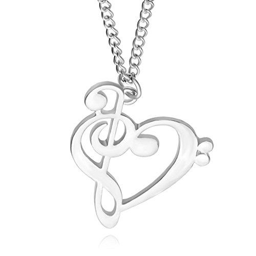 Emorias 1 x Halskette aus Legierung, Herzform, hohl, Kette, Anhänger für Damen, Modeschmuck, Accessoires - Silber