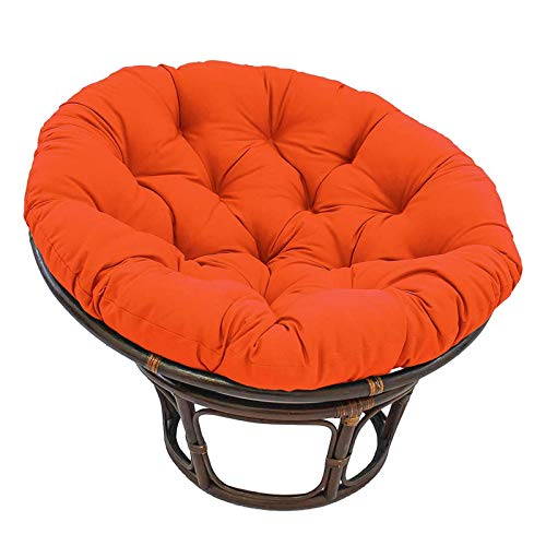 Large Round Papasan Chair Cushion Thicken Waterproof Egg Chair Pad Patio Swing Hanging Chair Nest Removable Soft and Comfortable (Color : Orange, Size : 120 x 120 cm/47 x 47')
