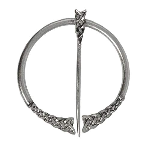 LoveinDIY Viking Buckle Clasp Clothes Cloak Pin Penannular Brooch, Norse Fibula Brooch Pin for Scarf Sweater Costume Decoration (8 Styles to Select) - Antique Silver 2