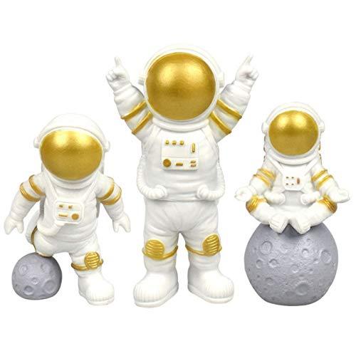 LUOZZY 3Pcs Astronaut Figurines Cake Topper Outer Space Cake Decoration Spaceman Model Display Miniature Astronaut Toys Set (Golden)