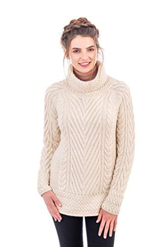 SAOL 100% Merino wol dames coltrui geribde kabel gebreide trui, in natuurlijk/grijs/marine