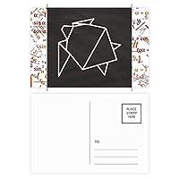 抽象折り紙カメの幾何形状 公式ポストカードセットサンクスカード郵送側20個
