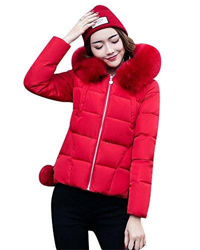 Femme Grande Taille Courte Manteau en Coton Gros col Veste en Duvet Coupe-Vent Rouge M